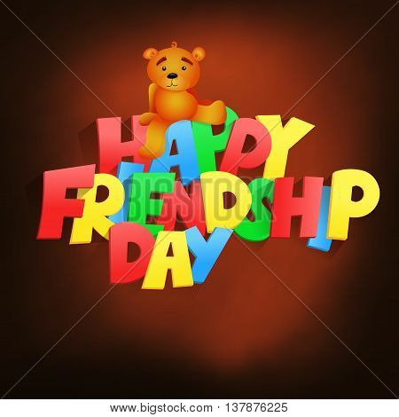 Friendship day lettering title with teddy bear. Vector illustration