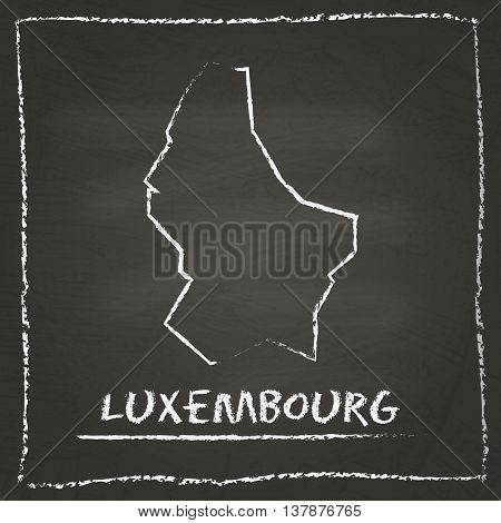 Luxembourg Outline Vector Map Hand Drawn With Chalk On A Blackboard. Chalkboard Scribble In Childish