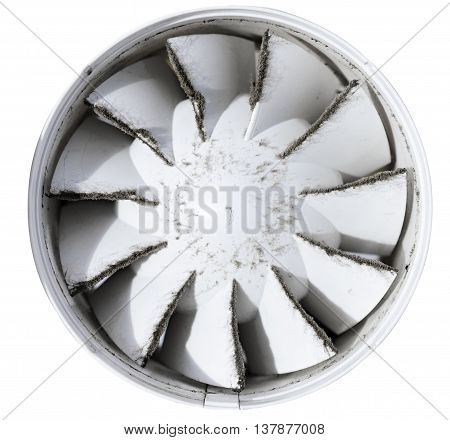 Built-in exhaust fan. Dirty, dusty fan. Isolated on white background. Shallow depth of field.