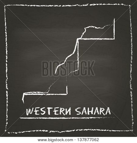 Western Sahara Outline Vector Map Hand Drawn With Chalk On A Blackboard. Chalkboard Scribble In Chil