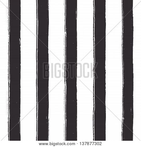 Seamless black stripes on white background. Vector texture. Wide lines with rough artistic edges.