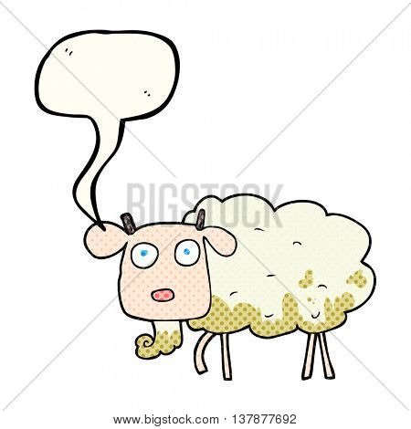 freehand drawn comic book speech bubble cartoon muddy goat