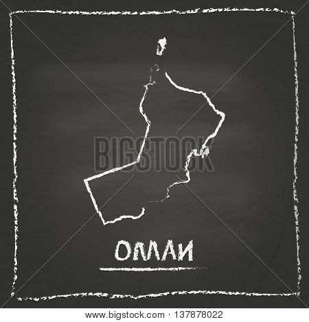 Oman Outline Vector Map Hand Drawn With Chalk On A Blackboard. Chalkboard Scribble In Childish Style