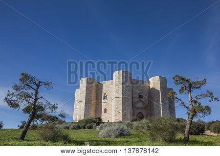 Castel Del Monte on a hilltop in Puglia Italy