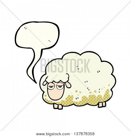freehand drawn comic book speech bubble cartoon muddy winter sheep