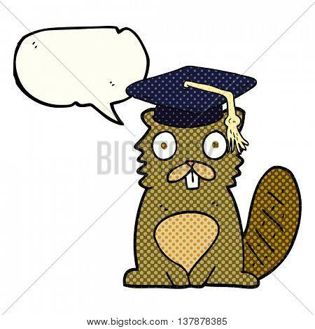 freehand drawn comic book speech bubble cartoon beaver graduate
