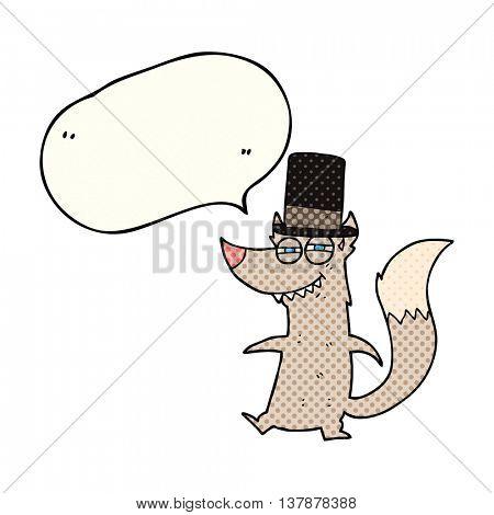 freehand drawn comic book speech bubble cartoon little wealthy wolf