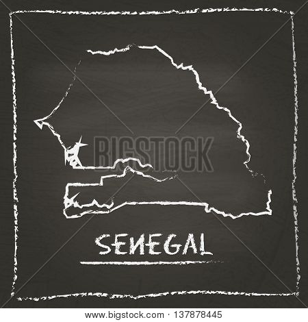Senegal Outline Vector Map Hand Drawn With Chalk On A Blackboard. Chalkboard Scribble In Childish St