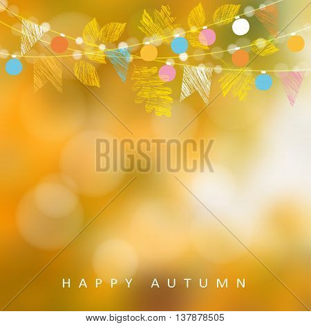 Autumn fall background. Greeting card with maple and oak leaves and bokeh lights. String with party flags and light decoration. Modern blurred vector illustration.