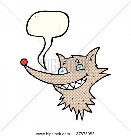 freehand drawn comic book speech bubble cartoon grinning wolf face