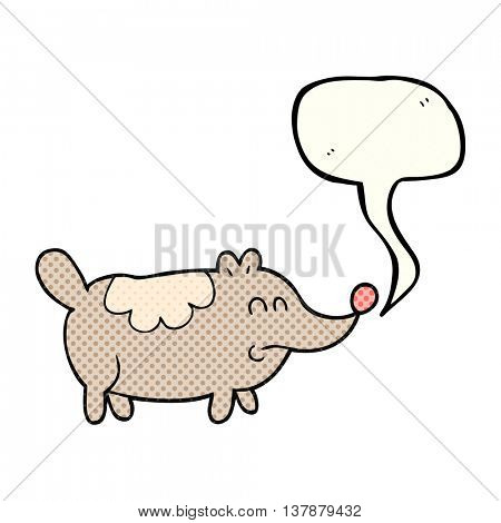 freehand drawn comic book speech bubble cartoon small fat dog