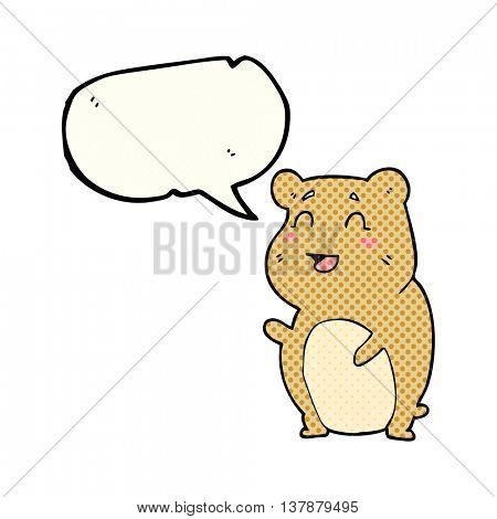freehand drawn comic book speech bubble cartoon cute hamster
