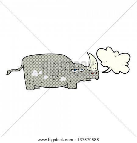 freehand drawn comic book speech bubble cartoon rhino