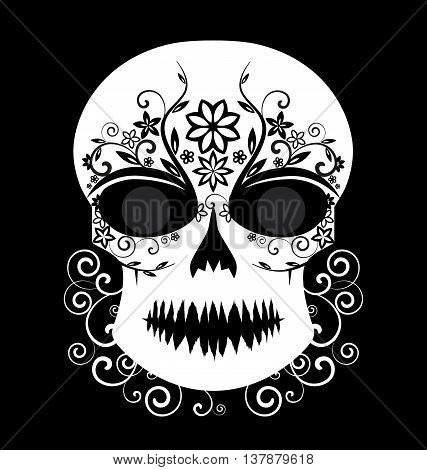 Skull vector with floral ornament black and white, Day of The Dead