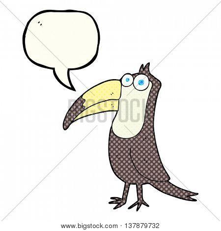 freehand drawn comic book speech bubble cartoon toucan