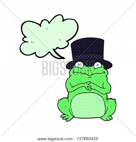 freehand drawn comic book speech bubble cartoon frog in top hat