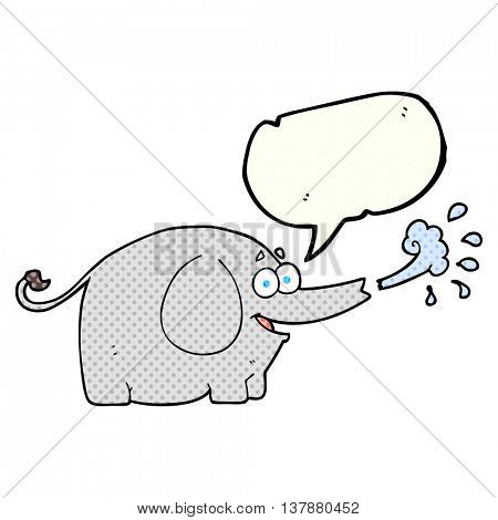 freehand drawn comic book speech bubble cartoon elephant squirting water