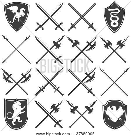 Heraldic armory graphic icons set with dragon lion eagle snake shields gothic swords lances isolated vector illustration