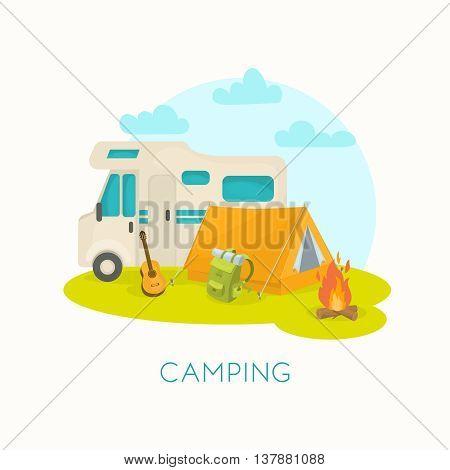 Summer camping design with house trailer tent guitar backpack mat bonfire on green grass vector illustration
