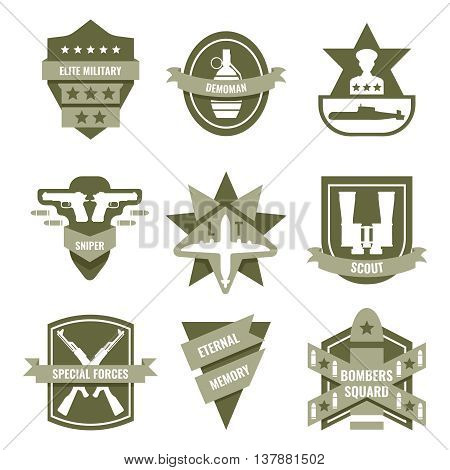 Army khaki emblems with submarine binoculars grenade bomb pistols airplane stars ribbons shields isolated vector illustration