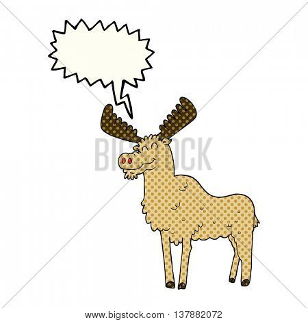 freehand drawn comic book speech bubble cartoon moose