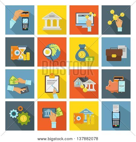 Atm and hands isometric colored square icon set banking operations cash card vector illustration