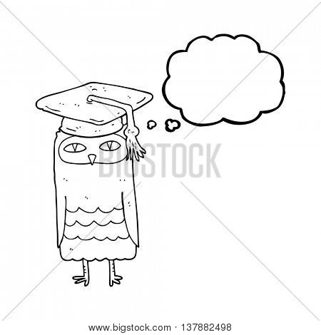 freehand drawn thought bubble cartoon wise owl
