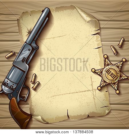 Sheriff stars composition with police badge sheet of old paper gun on wooden background vector illustration