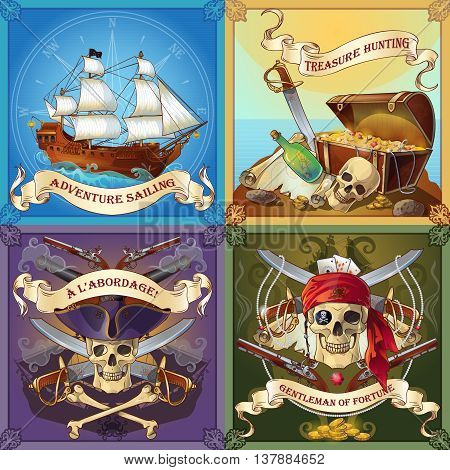 Sea robbers concept with adventure sailing treasure hunting boarding of ship gentleman of fortune isolated vector illustration