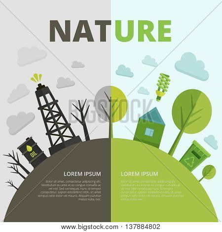 Planet ecology composition with pollution of environment in grey tones safe energy in green color vector illustration