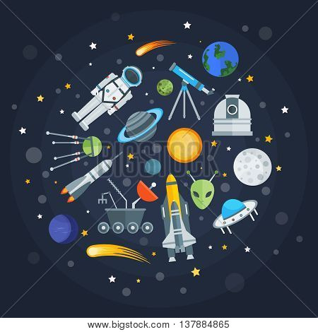 Space exploration round design with planets comets satellites shuttle alien telescope rocket on blue background vector illustration