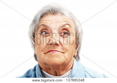 Old woman face. Grandmother on a white