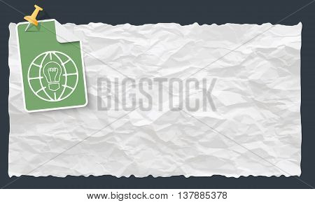 Crumpled paper and globe and white bulb