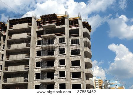 Process of modern city apartment building construction in residential district