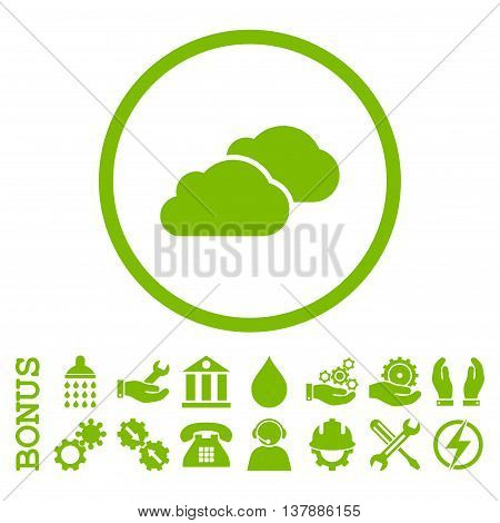 Clouds vector icon. Image style is a flat pictogram symbol inside a circle, eco green color, white background. Bonus images are included.