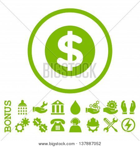 Finance vector icon. Image style is a flat pictogram symbol inside a circle, eco green color, white background. Bonus images are included.