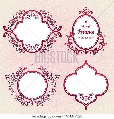 Filigree Vector Frames In Eastern Style.