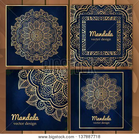 Set of Indian traditional flower mandala ornament illustration. Poster bookmenu abstract ottoman motifs element. Vector decorative ethnic greeting card or invitation design background.