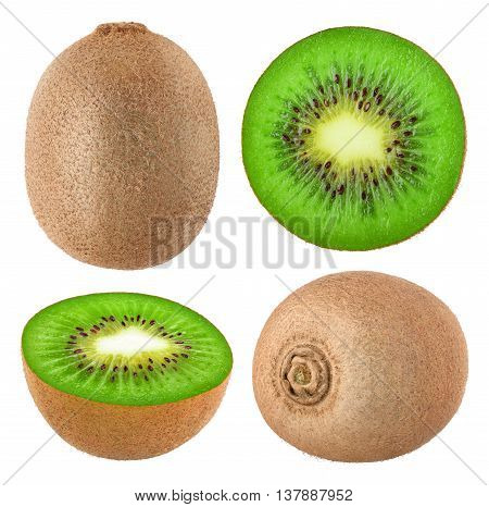Collection Of Isolated Kiwi Fruits