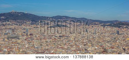 Panoramic view over Barcelona Spain from montjuic