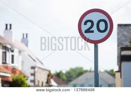 Color image of a 20km/h speed restriction road sign.