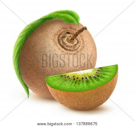 Isolated Kiwi Fruit With Leaf