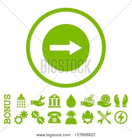 Right Rounded Arrow vector icon. Image style is a flat pictogram symbol inside a circle, eco green color, white background. Bonus images are included.