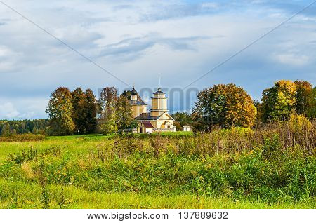 PUSHKINSKIYE GORY RUSSIA - SEPTEMBER 28 2013. Church of St. George on fortress of Voronich - architecture landscape