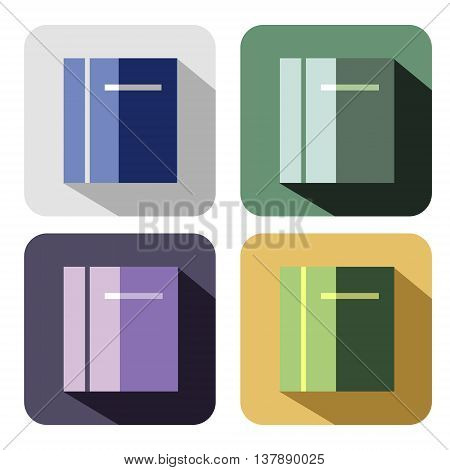 Vector icon. Set of colorful icons of book isolated on the white background