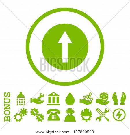 Up Rounded Arrow vector icon. Image style is a flat pictogram symbol inside a circle, eco green color, white background. Bonus images are included.