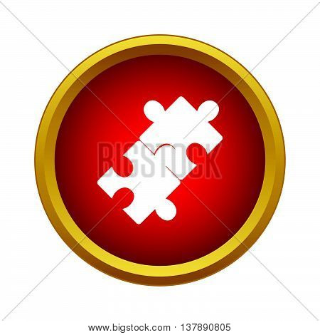Puzzle icon in simple style in red circle. Game symbol