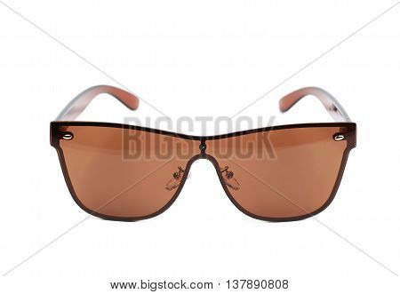 Pair of brown shade sunglasses isolated over the white background