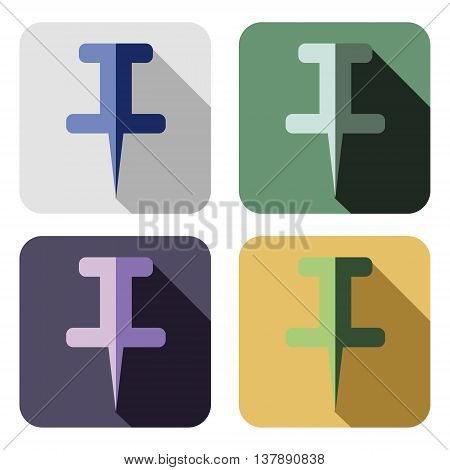 Vector icon. Set of colorful icons of pin isolated on the white background