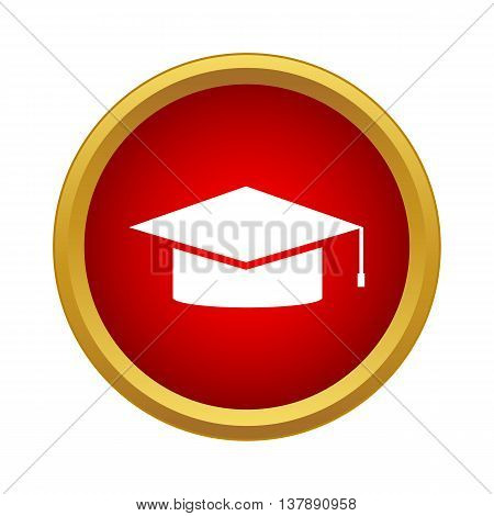 Cap student icon in simple style in red circle. Education symbol